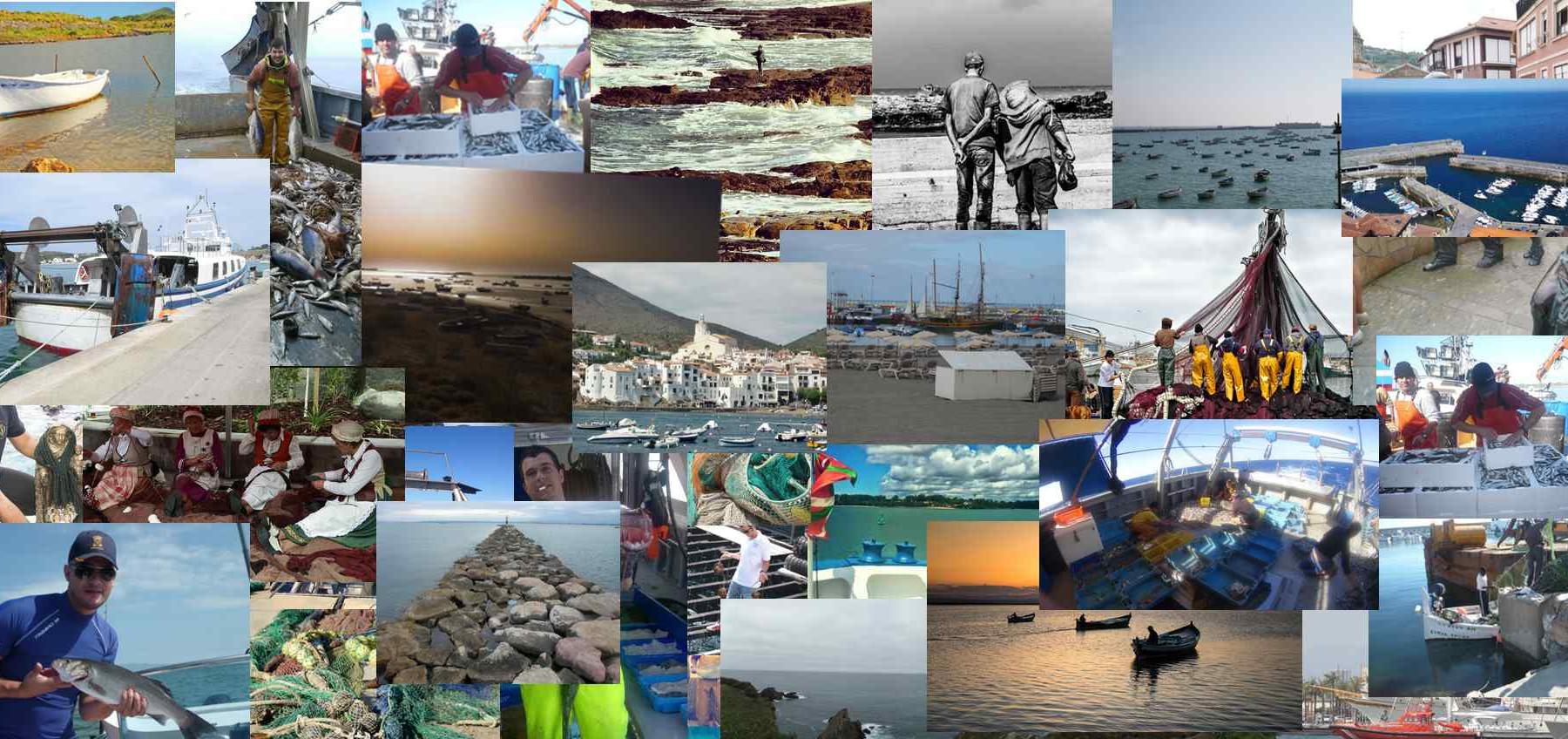 Mosaico con las fotografías sobre la gente de mar