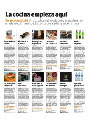 Página de gastronomía del Diario Vasco, que habla de los productos de Conservas Serrats