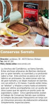 Reseña de Serrats en la guía gastronómica de El Diario Vasco