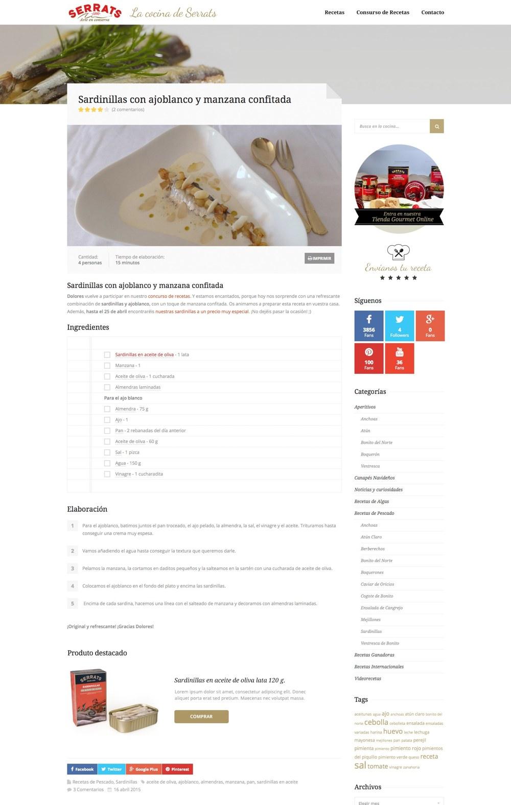 Detalle de una receta en La cocina de Serrats