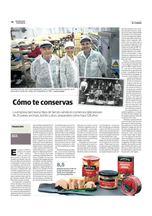 reportaje sobre Conservas Serrats en EL Correo