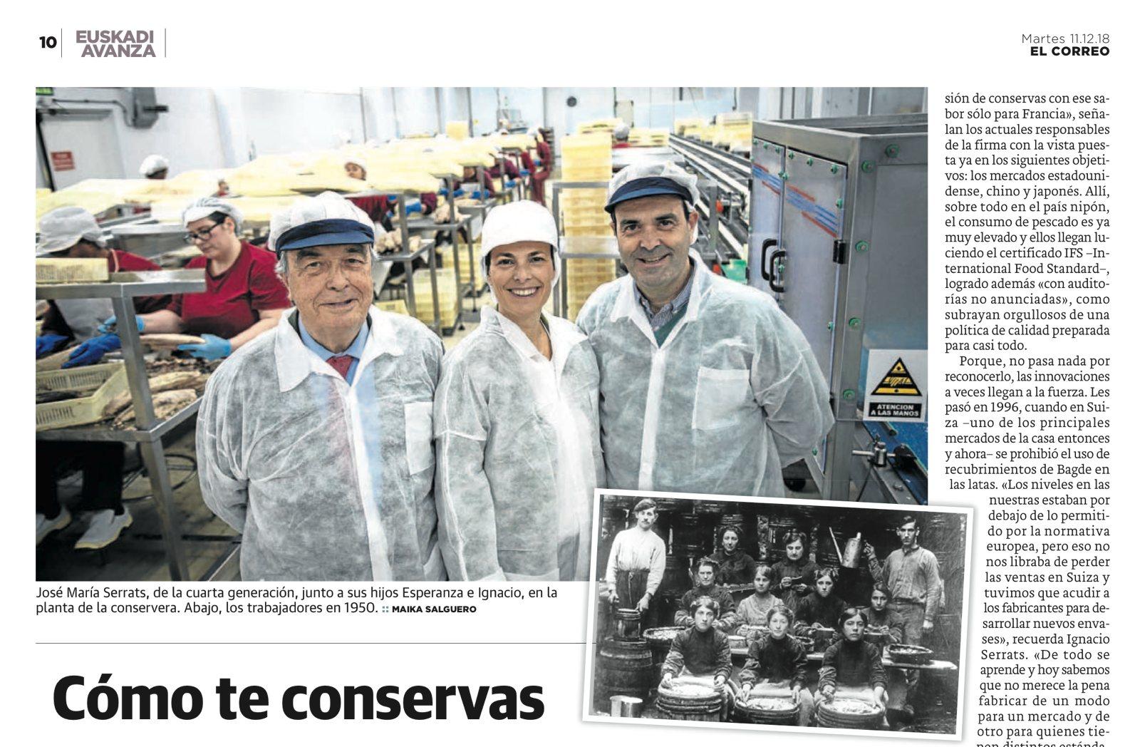 Conservas Serrats en El Correo