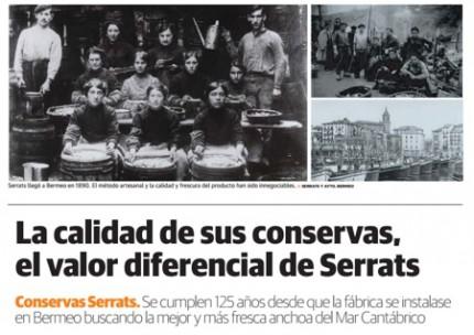Los valores diferenciales de Conservas Serrats, en el suplemento gastronómico de El Diario Vasco