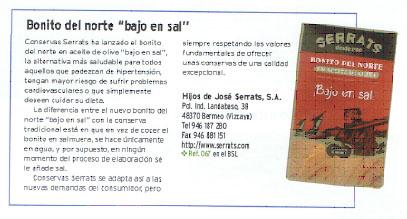 Mención conservas bonito del norte bajo en sal Serrats en revista alforja