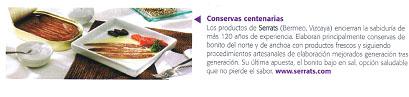 Mención de conservas de bonito del norte de Serrats en revista Club de Gourmets